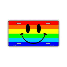 Novelty Metal License Plate Cover - Rainbow Pride Flag Smiley Face, Gay, LGBT