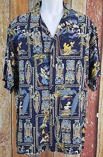 Disney Mickey Mouse Hawaiian Shirt Men's Large Rayon Short Sleeve Pluto Donald