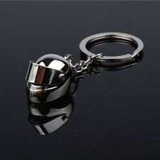 Silver Plated Motorcycle Bicycle Helmet Key Chain Ring Keychain Keyring Key Fob