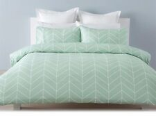 Robin Chevron Green White Queen Bed Doona Quilt Cover And Pillowcase Set
