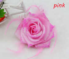 1PCS Pink Feather Rose Corsage Wrist Flower Romantic Bridal Headpieces brooch