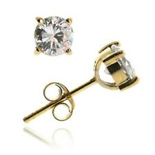 18K Gold Over Sterling Silver CZ 6mm Round Stud Earring