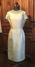 VINTAGE 1950s HARMAY IVORY SATIN SHATUNG BEADED COCKTAIL PARTY DRESS & JACKET M