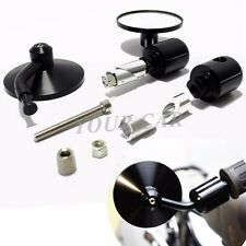 "NEW Motorcycle Aluminum Rear View 3"" Round Handle Bar End 7/8"" /1"" Mirrors Black"