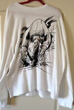 Ecko Unlimited Men's Long Sleeve Thermal Shirt  White - CHARGING RHINO  Size 3XL