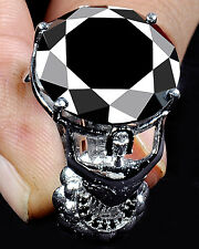 25.51 ct AAA BLACK ROUND CUT SOLITAIRE WORLD CUP .925 SILVER RING ( see video )