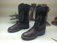 LARRY MAHAN BROWN DISTRESSED OSTRICH LEATHER ENGINEER TRAIL BOSS BOOTS 8 M