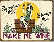NEW Make Me Wine Antique Vintage Look Funny Alcohol Beer Bar Tin Metal Sign