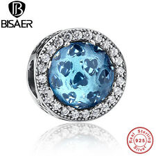 Authentic 925 Sterling Silver Radiant Hearts Sky Blue Crystal Charm Bead Jewelry