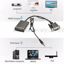 VGA To HDMI 1080P HD Converter Adapter + USB Audio Video Cable For Laptop TV PC
