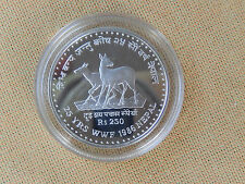 250 Rupien Nepal 1986  Silber PP  Moschusochse