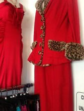 RARE Betsey Johnson LUXE 2pc Suit Jacket & pencil skirt w/ faux LEOPARD RUNWAY M