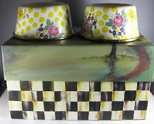 (2) MacKenzie Childs Buttercup Enamel Small Pet Dish Dog Cat Bowls in Box