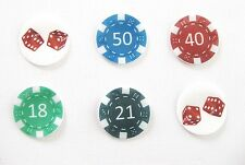 12 PRE CUT CASINO POKER CHIP DICE EDIBLE RICE PAPER WAFER CARD AGE CAKE TOPPERS