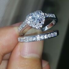 Women Engagement Diamonique CZ White Gold Filled Wedding Band Ring Set Size 10/T