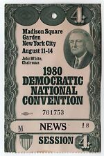 1980 PRESIDENT JIMMY CARTER DNC Press MEDIA News PASS Ticket CONVENTION NYC