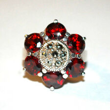 MARKED L&H 925 STERLING SILVER MARCASITE AND GARNET LADIES FLOWER RING SIZE 5.5