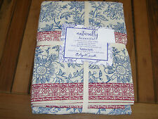 "April Cornell Blue, Red, Off-White Block Print 60 x 104"" Tablecloth--NWT"