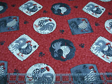 3 Yards Cotton Fabric - Spectrix Poulets de Provence Patterned Chicken Toss Red
