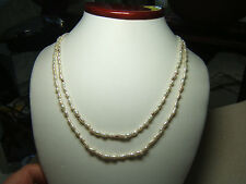"""2 Vintage Seed Pearl Necklaces 1 w/ 14k Gold Beads Great Luster 30"""" ea."""