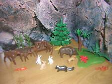 ( B 14 / R ) Waldlichtung Tiere Rehe Wildschwein Tannenbaum Baum Wald