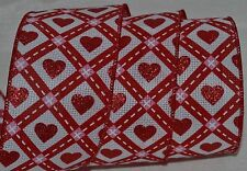Wired Ribbon~Valentine's Day~Woven Sparkle Red Heart~White~Diamond~Wreath~Bow