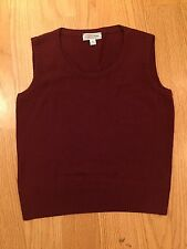 St. John Collection knit red burgundy shell tank top blouse shirt sz small S