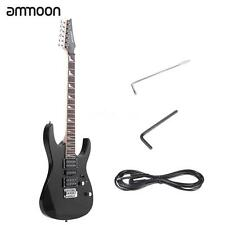 "ammoon 38"" Electric Guitar 6String 24 Frets Solid Wood Basswood Body Black H7J5"