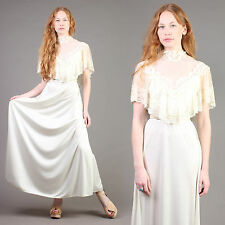 vtg VICTORIAN empire LACE BIB scalloped draped wedding hippie boho dress 70s S/M