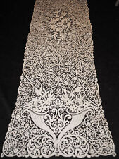 ANTIQUE LACE TABLE RUNNER BUREAU SCARF ITALIAN CANTU LACE WITH BIRDS HAND MADE