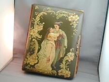 Antique Victorian Celluloid Photo Album Raised Scene Man & Woman With Photos