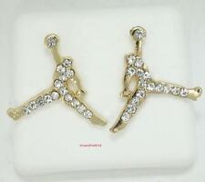 Iced Out Michael Jordan Jumpman Logo Gold CZ Stud Earrings In Gift Box