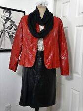 CAREER CASUAL LEATHER SKIRT SUIT BLACK RED  16-XL