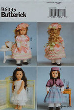 "Butterick 6035 Sewing PATTERN for 1800's Vintage 18"" American Girl DOLL CLOTHES"