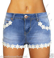 NEW Womens DISTRESS SHORTS Rip DAISY DENIM Ladies HOT PANTS Size 6 8 10 12 14
