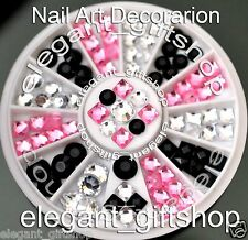 #ER54 Acrylic Nail Art Tips Decoration Black White Pink Glitter Resin Rhinestone