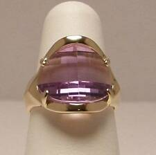 Amethyst Barrel Cut Solitaire Ring Set in 14K Yellow Gold - Unique