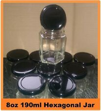 120 X 8oz 190ml HEXAGONAL GLASS JARS HEX PRESERVE JAM HONEY CHUTNEY BLACK LIDS