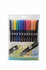 Tombow Brush Pen 12 Colour PRIMARY SET. Double Ended Artist & Craft Marker Pens