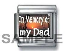 IN MEMORY OF MY DAD on SUNSET 9MM ITALIAN PHOTO CHARM LINK father daddy love