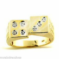 Mens diamond Ring Lucky 7 Dice -Craps Ring Gold Plated Sterling Silver