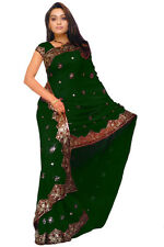 Green Bridal Designer Heavy Sequin Bollywood Saree Sari Boho Dress Curtain India