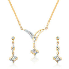 Oviya Gold Plated Dazzling Arc Pendant Set With Crystals NL2103087G