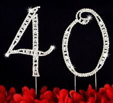 40th Birthday Wedding Anniversary Number Cake Topper Large Rhinestone Crystals