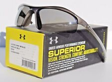 UNDER ARMOUR Zone Sunglasses Shiny Metallic Graphite/Gray NEW Sport/Cycle