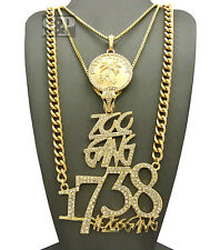 NEW HIP HOP ICED OUT RGF ISLAND & 1738 & ZOO GANG PENDANT CHAIN NECKLACE 3 SET