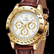 Luxury White Day Date Brown Leather Band Mens Automatic Analog Watch