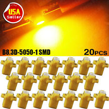 20X Amber Yellow T5 B8.3D 5050 1SMD Dash Instrument Cluster Speedo Climate US