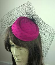 hot pink felt mini pill box hat black veiling french veil fascinator wedding