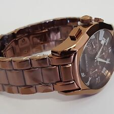 Stylish Brown Chrome Gent's Quartz Watch Mens by Emporio Armani AR1610